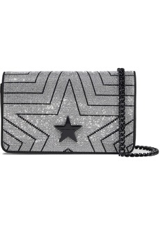 Stella Mccartney Woman Stella Star Crystal-embellished Velvet Shoulder Bag Black