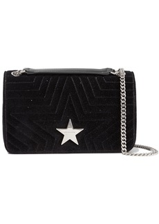 Stella Mccartney Woman Stella Star Quilted Glittered Velvet Shoulder Bag Black