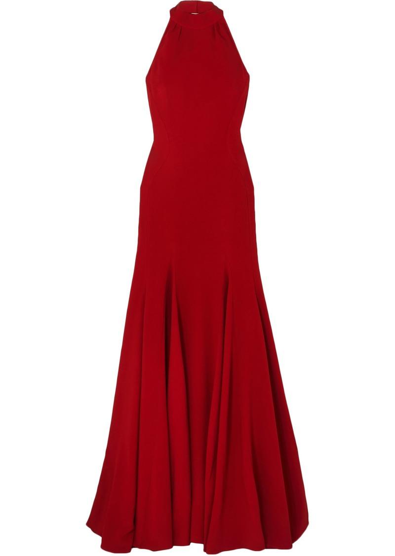 Stella Mccartney Woman Stretch-crepe Halterneck Gown Claret