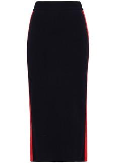 Stella Mccartney Woman Striped Cotton Midi Pencil Skirt Midnight Blue