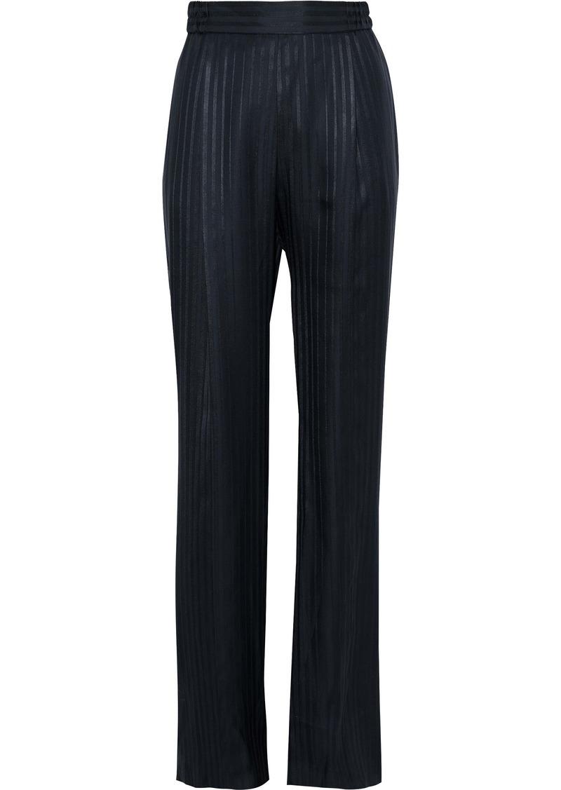 Stella Mccartney Woman Striped Silk-jacquard Straight-leg Pants Navy