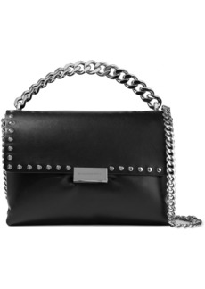 Stella Mccartney Woman Studded Faux Leather Shoulder Bag Black