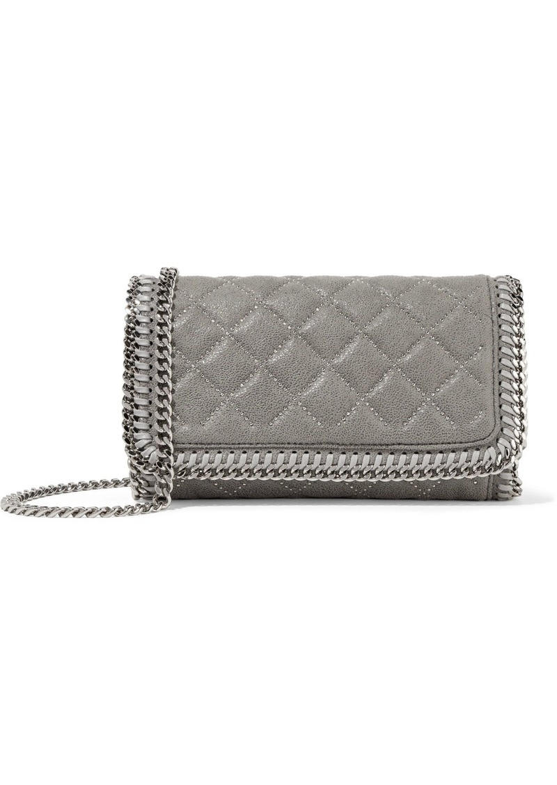 Stella Mccartney Woman Studded Quilted Faux Brushed-leather Clutch Light Gray