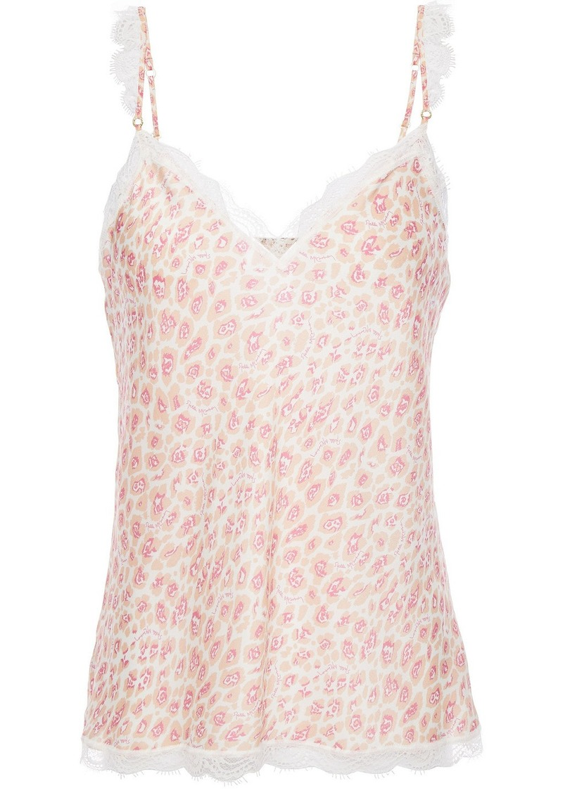 Stella Mccartney Woman Tana Snooping Lace-trimmed Leopard-print Stretch-silk Satin Camisole Pastel Pink