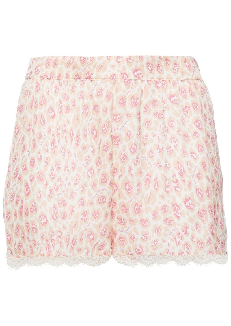Stella Mccartney Woman Tana Snooping Lace-trimmed Leopard-print Stretch-silk Satin Pajama Shorts Pastel Pink