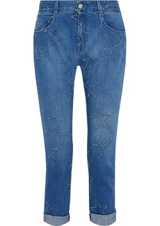 Stella Mccartney Woman The Skinny Boyfriend Cropped Distressed Mid-rise Slim-leg Jeans Mid Denim