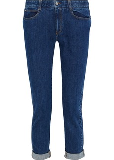Stella Mccartney Woman The Skinny Cropped Embossed Boyfriend Jeans Dark Denim