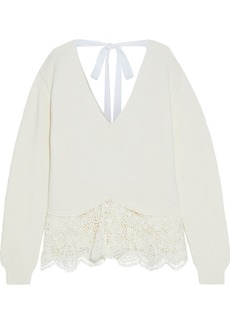 Stella Mccartney Woman Tie-back Crochet-paneled Cotton Sweater Off-white