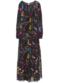 Stella Mccartney Woman Tiered Floral-print Cotton And Silk-blend Voile Coverup Black