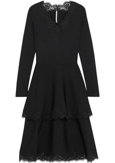 Stella Mccartney Woman Tiered Lace-trimmed Ponte Dress Black