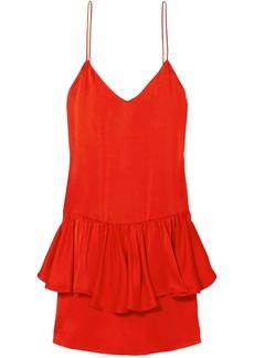 Stella Mccartney Woman Tiered Satin-crepe Mini Dress Tomato Red