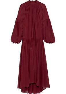 Stella Mccartney Woman Tiffany Gathered Silk-chiffon Maxi Dress Burgundy