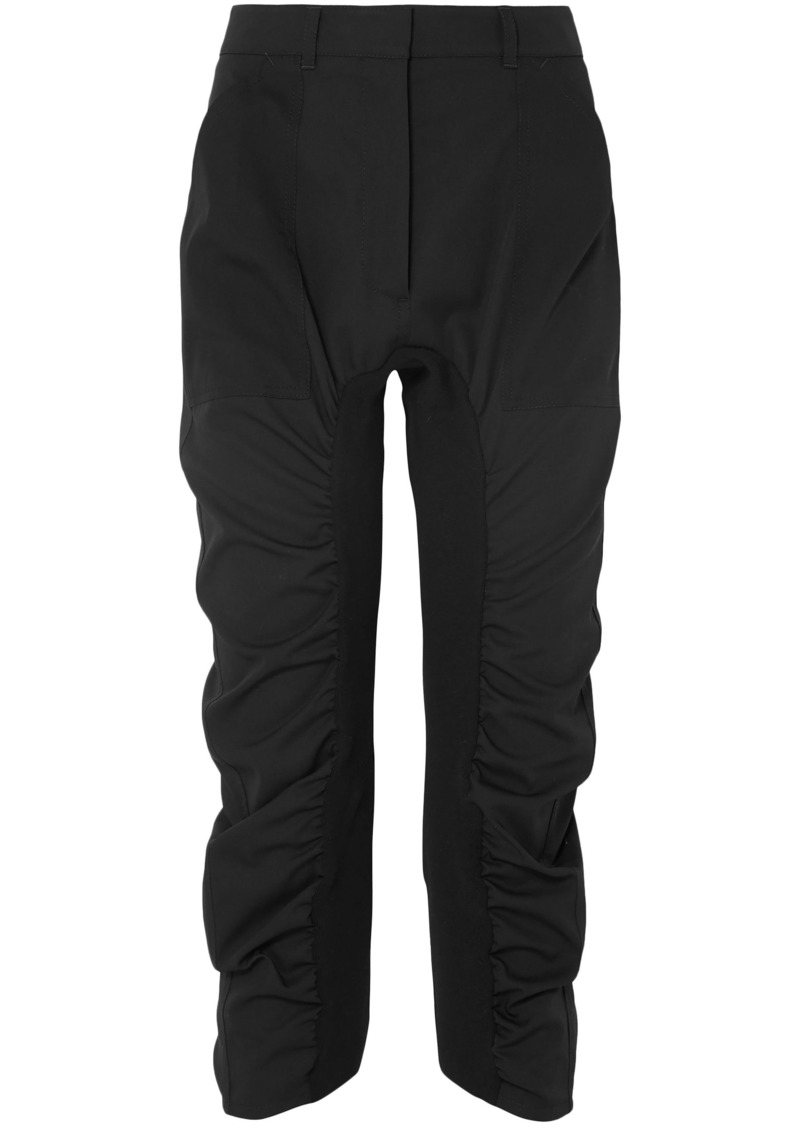 Stella Mccartney Woman Tina Ruched Wool-twill Track Pants Black