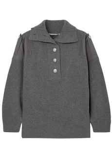 Stella Mccartney Woman Twill-paneled Button-detailed Wool Sweater Anthracite