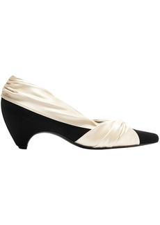 Stella Mccartney Woman Two-tone Knotted Satin And Faux Suede Pumps Ivory