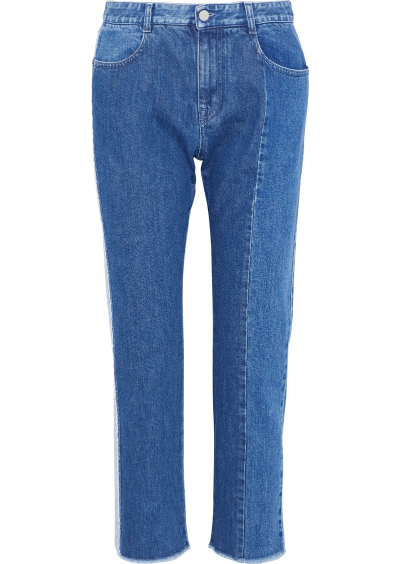 Stella Mccartney Woman Two-tone Mid-rise Straight-leg Jeans Mid Denim