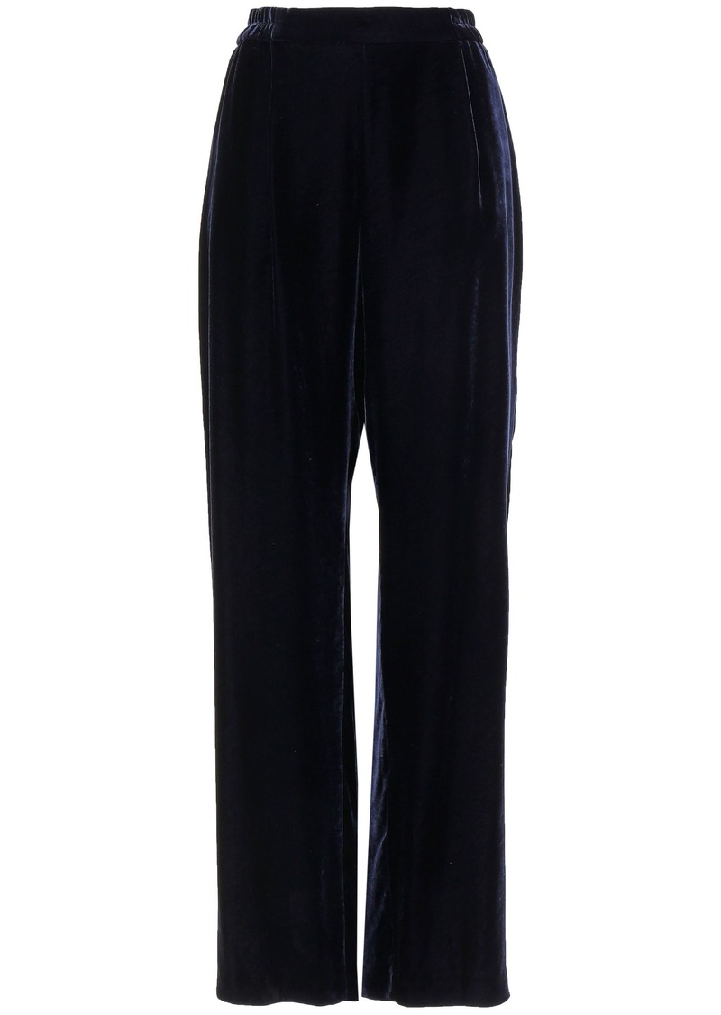 Stella Mccartney Woman Velvet Wide-leg Pants Midnight Blue