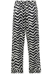 Stella Mccartney Woman Violet Hopping Printed Silk-blend Satin Pajama Pants Off-white