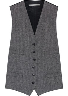 Stella Mccartney Woman Violet Mélange Wool And Jacquard Vest Dark Gray