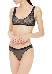 Stella Mccartney Woman Whitney Popping Stretch-lace Soft-cup Bra Navy