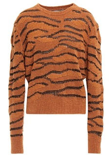Stella Mccartney Woman Wool-blend Bouclé And Jacquard-knit Sweater Brown