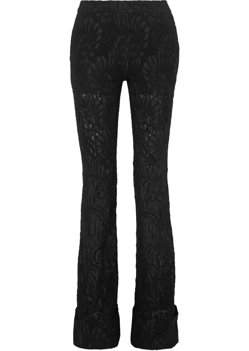 Stella Mccartney Woman Wool-blend Lace Flared Pants Black
