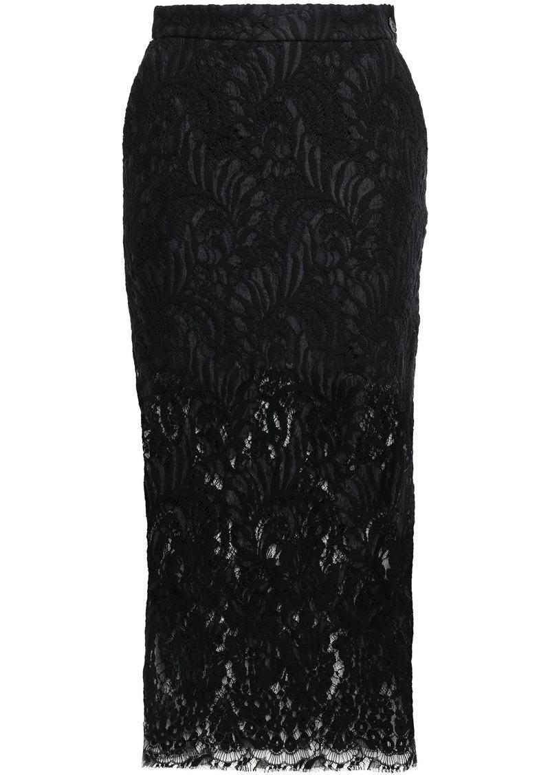Stella Mccartney Woman Wool-blend Leavers Lace Midi Pencil Skirt Black
