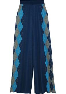 Stella Mccartney Woman Wool-jacquard Wide-leg Pants Azure