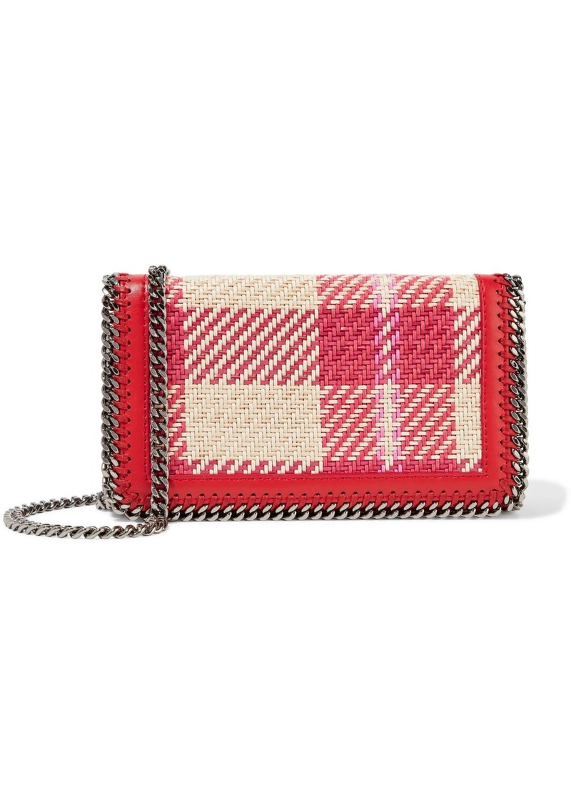 Stella Mccartney Woman Woven Checked Cotton And Faux Leather Shoulder Bag Multicolor