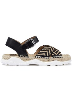 Stella Mccartney Woman Woven Jute And Faux Leather Espadrille Sandals Black