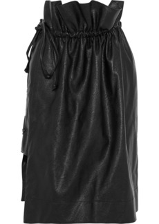 Stella Mccartney Woman Wrap-effect Layered Faux-leather Skirt Black