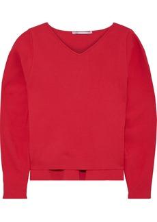 Stella Mccartney Woman Zip-detailed Stretch-knit Sweater Tomato Red