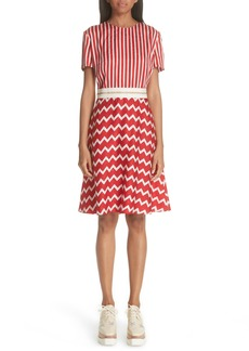 Stella McCartney Zigzag Stripe Silk Dress