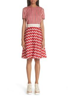 Stella McCartney Zigzag Stripe Silk Dress