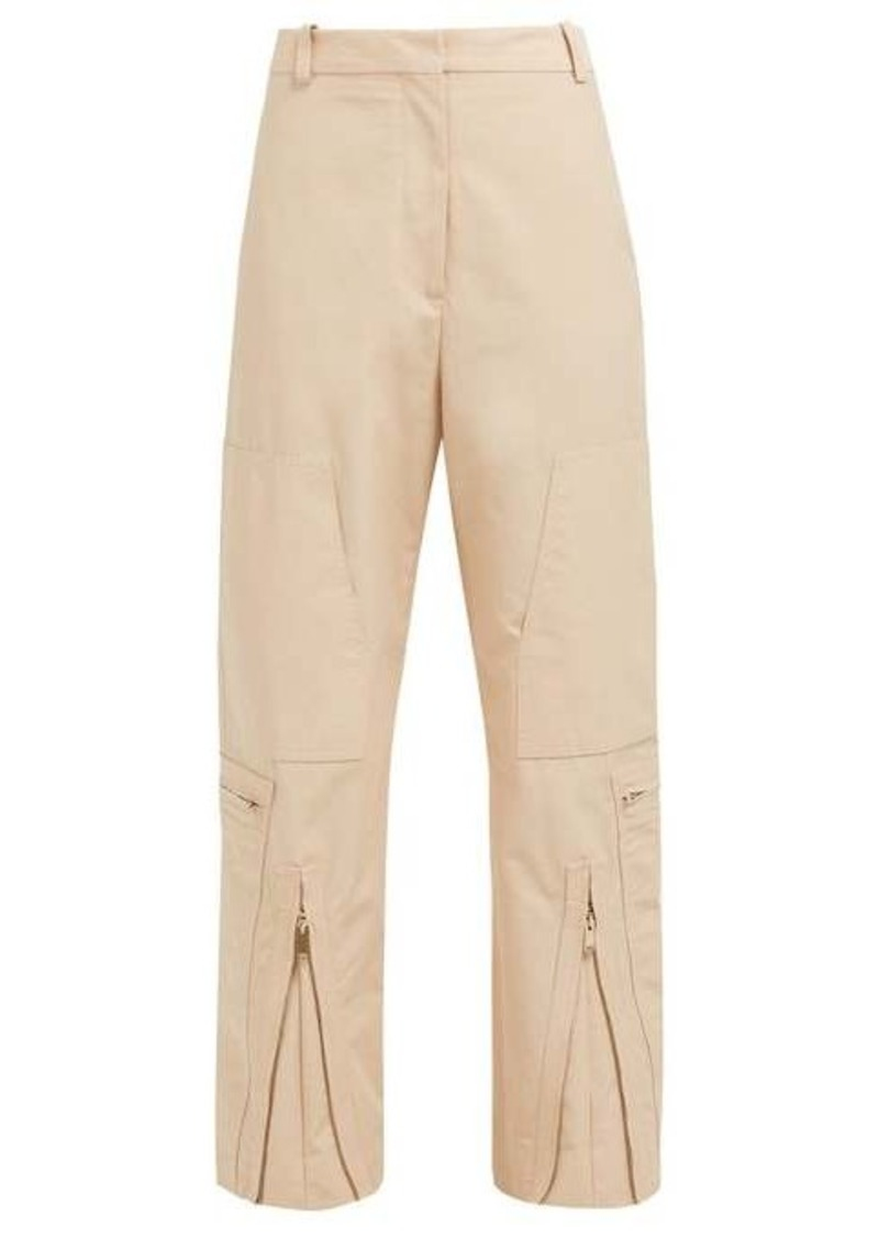 Stella McCartney Zip-front cotton-blend trousers