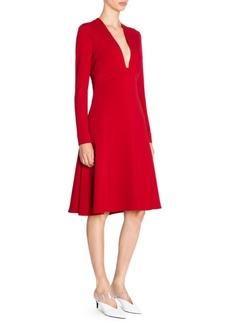 Stella McCartney Stretch Cady Low Neck Long Sleeve Dress