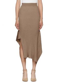 Stella McCartney Tan Rib Knit Asymmetric Flared Skirt