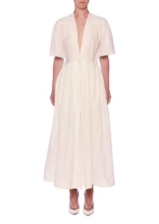 Stella McCartney V-Neck Eyelet Embroidered Midi Dress