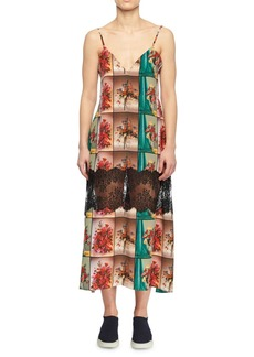 Stella McCartney V-Neck Sleeveless Floral-Print Flowy Silk Cami Dress w/ Lace Inset