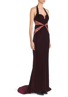 Stella McCartney Velvet & Lace Halter Gown