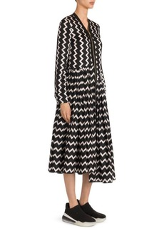 Stella McCartney Zip Front Zigzag Silk Dress
