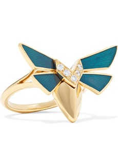 Stephen Webster Jitterbug 18-karat Gold, Diamond And Enamel Ring