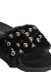 Steve Madden 20mm Yeah Studded Faux Fur Slide Sandals