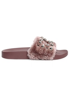 Steve Madden 20mm Yeah Studded Faux Fur Slide Sandals