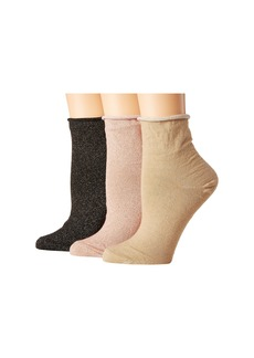 Steve Madden 3-Pack Roll Top Anklets w/ Lurex