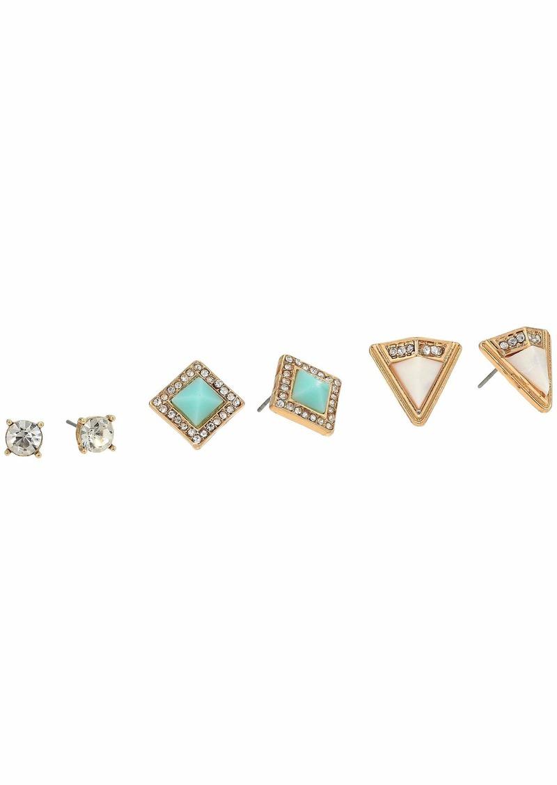 Steve Madden 3-Pair Geometric Stud Earrings Set