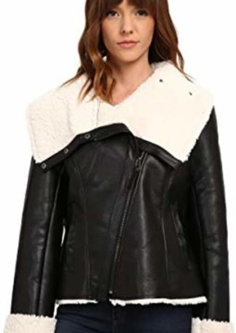 Steve Madden Asymetric Zip PU Shearling Jacket