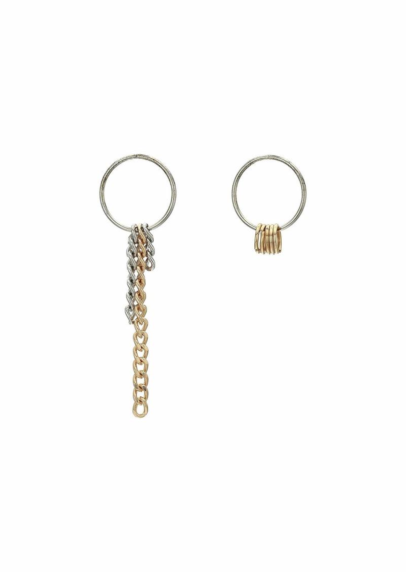 Steve Madden Asymmetrical Curb Chain Dangle Round Circle Earrings