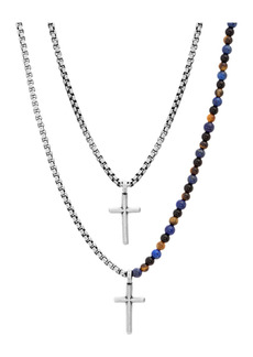 Steve Madden Beaded Double Layered Oxidize Double Cross Box Chain Necklace