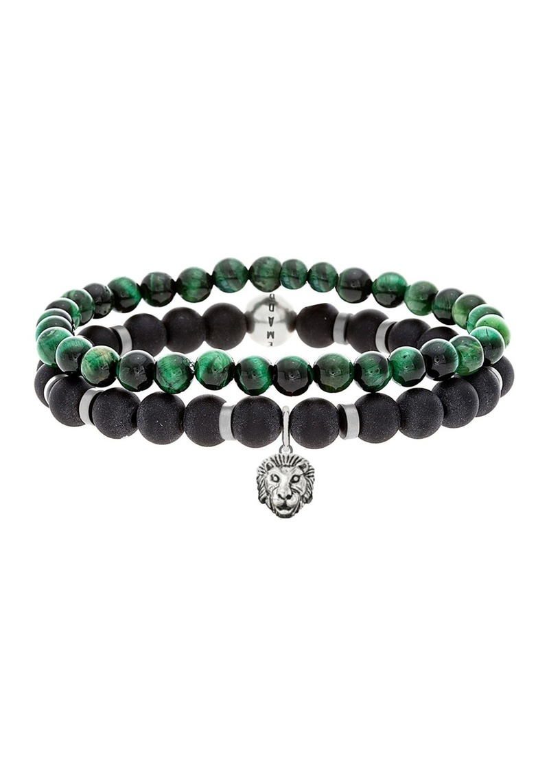 Steve Madden Beaded Malachite & Oxidized Charm Bracelets - Set of 2